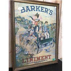 BARKER'S LINIMENT ADVERTISING POSTER - FRAMED