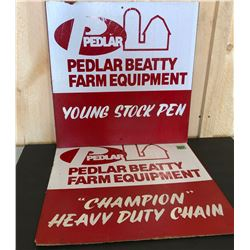 2 X PEDLAR BEATTY FARM EQUIP MASONITE SIGNS