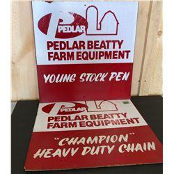 2 X PEDLAR BEATTY FARM EQUIP MASONITE SIGNS