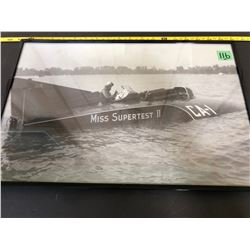 1950's FRAMED PHOTO - RECORD SETTING MISS SUPERTEST BOAT