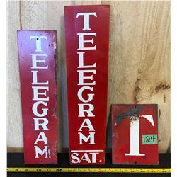 3 X TORONTO TELEGRAM MERCHANTS SIGNS