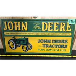 "JOHN DEERE REPRO WOOD SIGN WITH RAISED LETTERING - 10"" X 18"""
