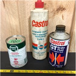 GR OF 3, CASTROL OUTBOARD GEAR OIL & BRAKE FLUID. QUAKER STATE 2 - CYC LUBE