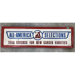 ALL AMERICAN SELECTIONS EMBOSSED PLASTIC ON WOOD WOODEN SIGN