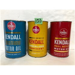 3 X KENDALL MOTOR OIL CANS - BLUE FULL