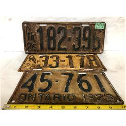 3 X 1920'S ON LICENCE PLATES - 1922 / 26 / 29