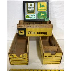 3 X JOHN DEERE PARTS BOXES & PATCH DISPLAY
