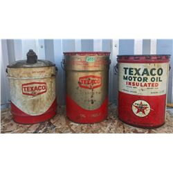 3 X TEXACO 5 GAL FUEL PAILS