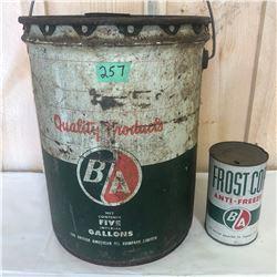 BA 5 GA OIL PAIL & FROSTCOP ANTI-FREEZE 1 QT CAN