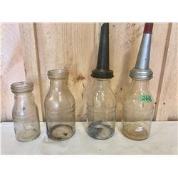 3 X ONE QT + 1 PT GLASS OIL BOTTLES W / 2 X SPOUTS