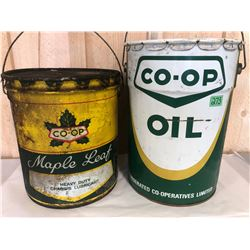 CO-OP MAPLE LEAF LUBRICANT & 5 GAL OIL PAILS