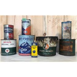 8 X MISC VINTAGE OIL / GREASE / ANTI-FREEZE TINS
