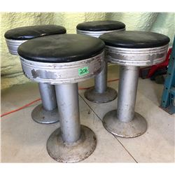 SET OF 4 VINTAGE LUNCH COUNTER STOOLS
