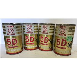 4 X CITIES SERVICE 1 QT 5D TINS