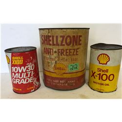 2 X SHELL MOTOR OIL WRAP TINS & 1 GAL ANTI-FREEZE