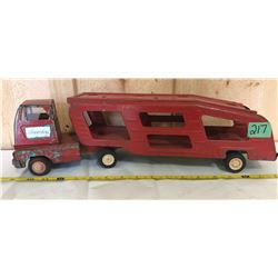 VINTAGE TIN ARTICULATING CAR CARRIER