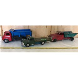 HUBLEY FARM TRUCK, ASG JAPAN DUMP TRUCK & MILITARY FLAT BED - TIN TOYS