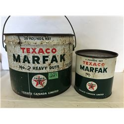 TEXACO 25 LB MARFAK PAIL & 5 LBS MARFAK - SOME CONTENTS