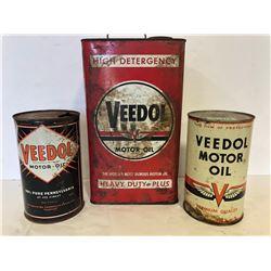 2 x VEEDOL 1 QT & 1 X ONE GAL MOTOR OIL TINS