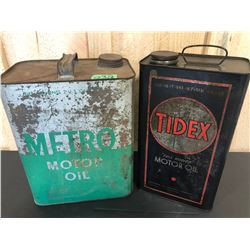 METRO MOTOR OIL 2 GAL TIN & TIDEX MOTOR OIL 1 GAL TIN