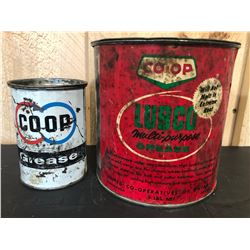 CO OP 1 LB & 5 LB GREASE TINS - SOME CONTENTS