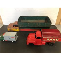 GR OF 3 TIN & PLASTIC TRUCKS