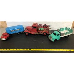 LINEMAR TRANSPORT TRUCK, DARDIS STOCK TRUCK & VINTAGE LOOK FIRE TRUCK.