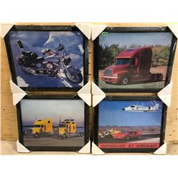 SET OF 4 FRAMED AUTOMOTIVE PRINT - AS NEW