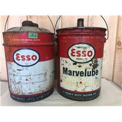 2 X ESSO 5 GAL PAIL / FUEL CAN