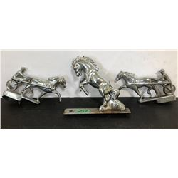 3 X VINTAGE CHROME HORSE HOOD ORNAMENTS - FORD MUSTANG
