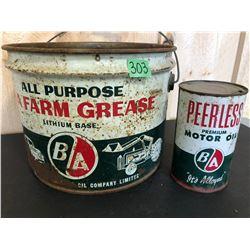 BA 25 LBS FARM GREASE PAIL & 1 QT MOTOR OIL