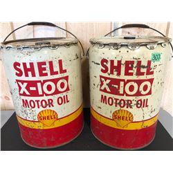 SHELL X-100 5 GAL MOTOR OIL PAILS