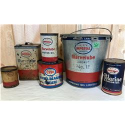 6 X IMPERIAL / ESSO OIL & GREASE TINS - SOME CONTENTS