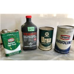 GR OF 4 TEXACO TINS