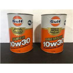 2 X GULF MOTOR OIL WRAP TINS - FULL