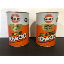 2 X GULF MOTOR OIL WRAP TINS - FULL