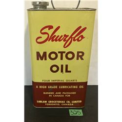 SHURFLO MOTOR OIL 4  IMP QT TIN - FULL
