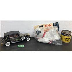 BATTERY POWERED 'CAR RADIO' & BLINKY - AS NEW & SHEFFIELD GLUE TIN