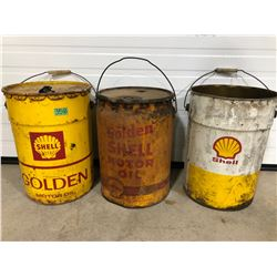3 X SHELL OIL PAILS - SOME CONTENTS