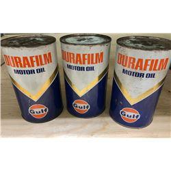 GR OF 3 GULF DURAFILM MOTOR OIL CANS - FULL