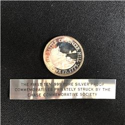 THE BATTLE OF BUNKER HILL  .999 PURE SILVER ROUND 27 GRAMS