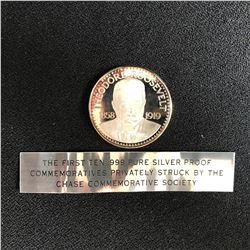 THEODORE ROOSEVELT  .999 PURE SILVER ROUND 27 GRAMS