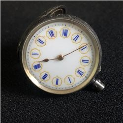 SOLID  0.935 SILVER  DOUBLE DOOR POCKET WATCH  GREAT WHITE AND BLUE  PORCELAIN DIAL