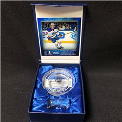 Connor McDavid Edmonton Oilers NHL Debut Crystal Puck - Filled with Ice from NHL Debut