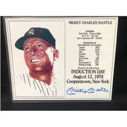 MICKEY MANTLE AUTOGRAPHED INDUCTION DAY 8X10 (YESTERDAY'S LEGENDS COA)