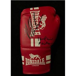 MIKE TYSON SIGNED & EVANDER HOLYFIELD RED LONSDALE LONDON BOXING GLOVE