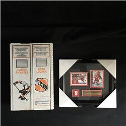 STEVE YZERMAN HOCKEY CARD FRAMED DISPLAY w/ NHL CARD LOCKERS LOT