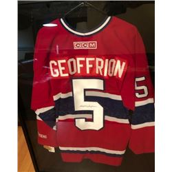 """BERNIE """"BOOM BOOM"""" GEOFFRION SIGNED and FRAMED CANADIENS JERSEY w/ COA"""