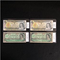 GRADED 1967 & 1973 CANADIAN $1 BANK NOTE LOT