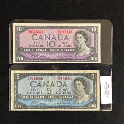 1954 CANADIAN $5/ $10 BANK NOTE LOT